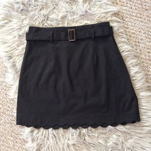 Urban Outfitters Black Linen Blend Belt Mini Skirt